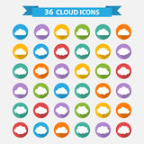 Big vector set of thirty-six white cloud  shapes Royalty Free Stock Photos