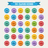 Big vector set of thirty six white cloud  shapes Stock Images
