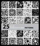 Big vector set of twenty five seamless floral patterns Stock Photos