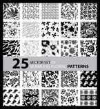 Big vector set of twenty five seamless floral patterns Royalty Free Stock Images