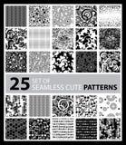 Big vector set of twenty five seamless patterns Royalty Free Stock Photos