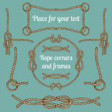 Big vector set of vintage ropes corners and frames. Hipster cables collection with places for your text. Big vector set of vintage ropes corners and frames Stock Photo