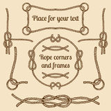 Big vector set of vintage ropes corners and frames. Vector hipster cords collection with places for your text. Big vector set of vintage ropes corners and Stock Photo