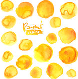 Big vector set of yellow watercolor stains Stock Images