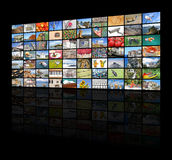 Big video wall of the TV screen Stock Images
