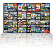 Big video wall of the TV screen. A variety of images as a big video wall of the TV screen Stock Photos