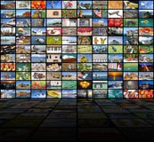 Big video wall of the TV screen Stock Image
