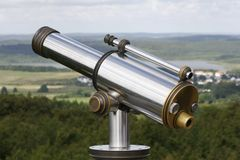 Big view. A telescope on the outlook tower, at the hunting chastle Granitz, on the island of Ruegen, Germany stock image
