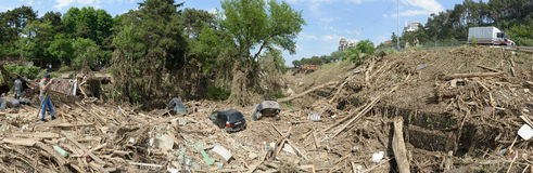 Big view of the debris in the zoo after the flood Stock Photo