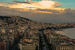 Big view over the naples with clouds stock image