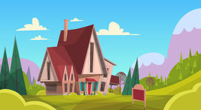Big Village House Summer Landscape Green Grass Blue Sky Mountain Background stock illustration