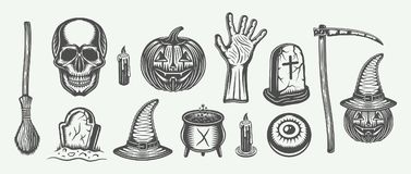 Big vintage halloween set of broom, skull, pumpkin, hand, graves. Scythe, with`s hat, cauldron, candle, eye in retro style. Monochrome Graphic Art. Vector Stock Images