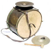 Big vintage orchestral drum. With cymbals and beater on white background Stock Image