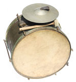 Big vintage orchestral drum. On white background Royalty Free Stock Photos