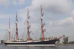 Big vintage tallship the sedov. Port of Amsterdam, Noord-Holland,Netherlands - August 19-08-2015 : Tall ship the Sedov is sailing from IJmuiden to Amsterdam Royalty Free Stock Photos