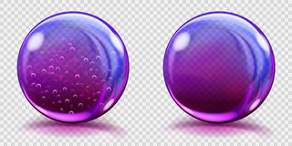 Big violet glass spheres with air bubbles and without. Two big violet glass spheres with air bubbles and without, and with glares and shadows. Transparency only Stock Images