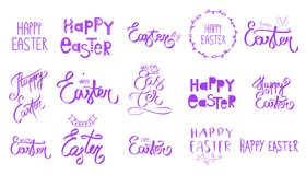 Big violet purple easter set. Collection Happy Easter Day handwritten sign. Spring style. April Sunday holiday. Hand drawn letteri vector illustration