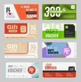 Big voucher discount template set. Stock Photos