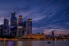 Big vs Small. View from Singapore, so many building in there. Big building and small building. I took this photo when blue hour or sunset Stock Images