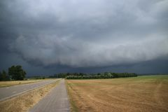 Big wall cloud above the fields in Overijssel in the Netherlands with thunderstorms coming up. Big wall cloud above the fields in Overijssel in the Netherlands royalty free stock photography