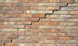 Big wall crack. Wall crack between bricks, it shows damaged wall Royalty Free Stock Photo