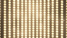 BIG Wall Lights and Falling shiny golden confetti for party,fashion, dance club video promotions, 3d animation.  royalty free stock photography