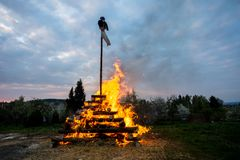 Big walpurgis night fire with witch Stock Image