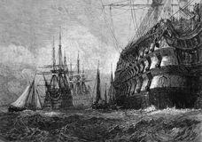 Big Warship. On engraving from 1865 after a drawing by J.M.W.Turner and published in the Illustrated London News Royalty Free Stock Photography