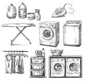 Big wash. Laundry objects. Vector sketch. Royalty Free Stock Photos