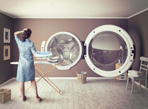 The Big Wash. Woman and the Big Wash. Creative concept Stock Images