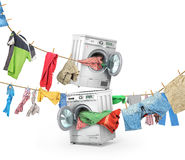 The big washing concept. Clothing on the ropes rushes from the washing machine and dryer isolated on a white background stock illustration