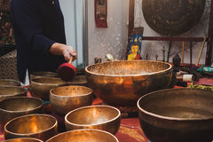 Big water bowls at Orient Festival in Milan, Italy Stock Images