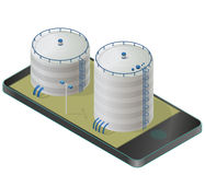 Big water reservoir in mobile phone. White water supply resource. Royalty Free Stock Photography