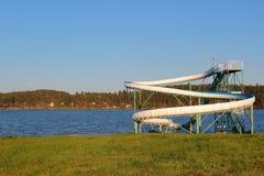Big water slide on a lake Royalty Free Stock Photos