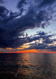 Big Water at Sundown. Lake Michigan just after sunset seen from Sleeping Bear Dune National Lakeshore, Michigan, USA Stock Photo