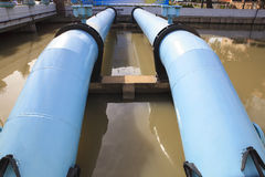 Big water supply tube in waterworks industry estate Royalty Free Stock Images