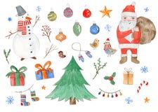 Big watercolor set of cute Christmas elements royalty free illustration