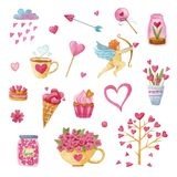 Big watercolor set of Valentine`s day. Watercolor set c hearts, cakes, cups, tea, plants, Cupid, candy and flowers vector illustration
