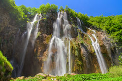 Big waterfall in amazing Plitvice Lakes National Park, Croatia, Stock Images