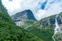 Big waterfall in the countryside of norway stock image