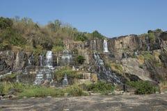 Big waterfall falling. Dalat, Vietnam. Large waterfall falling from the mountain. Dalat, Vietnam Royalty Free Stock Images
