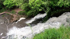 Big waterfall in forest stock video footage
