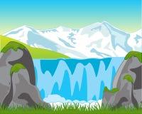 Big Waterfall In Mountain Stock Photo