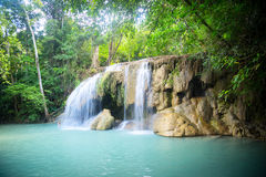 Big waterfall in the jungle. Waterfall in the jungle. Green lake stock images