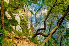 Big waterfall in the mountains. Slovenia Landscape. Stock Image