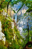 Big waterfall in the mountains. Slovenia Landscape. Stock Photography