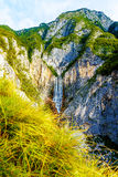 Big waterfall in the mountains. Slovenia Landscape. Royalty Free Stock Photo