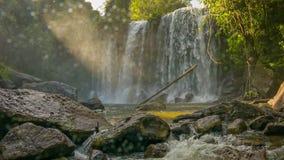 Big waterfall in Phnom Kulen National Park stock footage