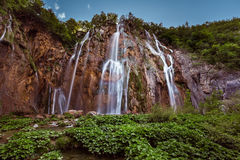 Big Waterfall in Plitvice Lakes National Park Stock Image