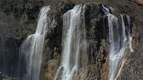 Big waterfall in Plitvice lakes national park, Croatia stock footage